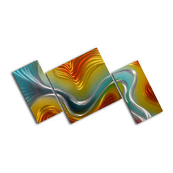 """Geometric colored ripples"" 3 Piece Contemporary Handmade Metal Wall Art Set - Size: Size: 24"" x 48"" (24"" x 12"" x 2pc; 24"" x 24"" x 1pc) Materials: Aluminum, Paints, Wood Made of high quality aluminum over a 0.5-inch thick wood frame covered with velvet on the back 100% Handmade wall decor Hand sanded design that creates unique holographic effect  Clear coated gloss finish Ready to hang out of the box Hand crafted by a single talented artist Due to the handcrafted nature, each piece may have subtle differences"