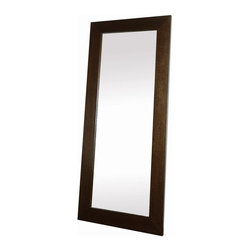 "Beverly Hills Furniture - Oak Veneer Frame Full Length Mirror - Oak veneer in wenge finish. 4"" thick frame. Fully finished back. May be leaned against wall  fastened  on wall. 2 in. W x 37 in. L x 85 in. HCrafted with an oak veneer and finished in wenge color, the M9 mirror is a refreshing take on an old idea.  It thick boarders offer a dramatic look for any space.  The M9 features a fully finished back and may be leaned against a wall at an angle or affixed to it with a bracket (hardware not included)."