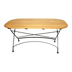 Haste Garden - Haste Garden Rebecca Oval Table, Solid Top - - The black frame is made from steel, powder-coated and baked-on enamel paint for outdoor use.