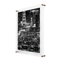 "Wexel Art - 1923D Double Panel Acrylic Wall Frame 19x23 - Get the floating frame effect while fully enclosing your art in between two panels of acrylic. Includes: 2 acrylic panels 19x23"" OD (3/16 and 1/8 inch thickness) with polished edges, 4 wall mounts (5/8"" diameter x 1.5"" long), 4 screws and anchors. No magnets needed. When you want to change out your display, just unscrew the caps on the hardware and lift off the top panel of acrylic."