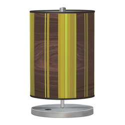 jefdesigns - Vertical Stripey 2 Cylinder Table Lamp - In shades of cool green and grounded woodgrain, this lamp is anything but fussy. Understated yet totally tasteful, this lamp will add a bit of whimsy to your table while also being firmly modern.