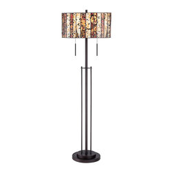 "Robert Louis Tiffany - Arts and Crafts - Mission Speckled Glass Tiffany Style Floor Lamp - The bold Tiffany style shade of this floor lamp is made of multi-color art glass arranged in vertical strips and separated by black borders. Specks of black glass are mixed in giving a playfully casual accent to the design. A tiger bronze finish completes the look. Multi-color speckled art glass shade. Tiger bronze finish. Two maximum 75 watt or equivalent bulbs (not included). 62"" high. 20"" wide.  Multi-color speckled art glass shade.  Tiger bronze finish.  Two maximum 75 watt or equivalent bulbs (not included).  Twin pull chain switches.  62"" high.  Shade measures 20"" in diameter x 10"" high.  12"" diameter base."