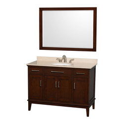 "Wyndham Collection - Hatton 48"" Dark Chestnut Single Vanity w/ Ivory Marble Top & Oval Sink - Bring a feeling of texture and depth to your bath with the gorgeous Hatton vanity series - hand finished in warm shades of Dark or Light Chestnut, with brushed chrome or optional antique bronze accents. A contemporary classic for the most discerning of customers. Available in multiple sizes and finishes."
