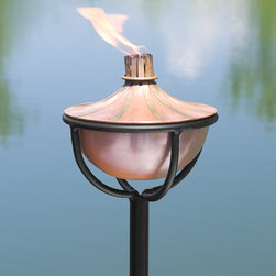 Brass Accented Copper Garden Torch with Chalice Floor Stand - Antique Copper - A necessary addition to your outdoor space, the Brass Accented Copper Torch provides gentle light and warns off mosquitoes when you add citronella fuel.
