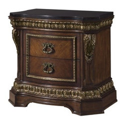 Del Corto 2 Drawer Nightstand - Romantic old-world settings aren't just the stuff of your bedtime reading - they're the stuff of your bedroom, too, when it's home to the Del Corto 2 Drawer Nightstand. Crafted with durable book-matched cherry veneers, this nightstand impresses with ornate touches - a serpentine curved front, a black granite top, acanthus leaf overlays, antique-inspired hardware, and intricate moldings detailed with a multi-step finishing process and tipped with gold dry-brushing. Two storage drawers move on smooth, full-extension ball-bearing guides. About Pulaski FurnitureFounded in 1955 in Pulaski, Va., and taking the name of the town as its own, Pulaski Furniture was originally established as a maker of bedroom and dining room furniture. Recently celebrating its 50th anniversary, Pulaski Furniture is one of the top 40 furniture importers in the United States. Now a division of Home Meridian International, Pulaski Furniture Corporation continues to outperform with stylish and innovative product development, designing and building a broad selection of collectors cabinets, accent pieces, and bedroom and dining furniture for your lifestyle needs.