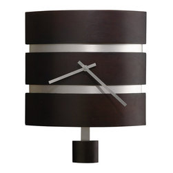 Howard Miller - Howard Miller Morrison Quartz Wall Clock - Howard Miller - Wall Clocks - 625404 - This modern wall clock has a sleek new cosmopolitan identity and is designed to subtly slide in as part of a larger decor theme. Distinguished by its recessed brushed nickel bands, curved pendulum bob and streamlined brushed nickel hands, the Morrison glows with a distinctive chic. A Black coffee finish and the reliable timekeeping of quartz movement round out the look and appeal of the Morrison Quartz Wall Clock.