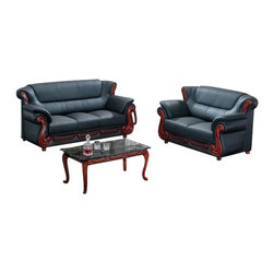 American Eagle Furniture - 7981 Black Bonded Leather Three Piece Sofa Set With Walnut Finish Wood Trim - The 7981 sofa set has a stylish traditional design with modern flair that will be a great addition for any living room setting. This sofa set comes upholstered in a stunning black bonded leather on the front where your body touches. Carefully chosen match material is used on the back and sides where contact is minimal. High density foam is placed within each piece for added comfort. The sofa set features walnut finished wood trimming adding to the overall look. The sofa set shown includes a sofa, loveseat, and chair only. The coffee table shown is NOT included.