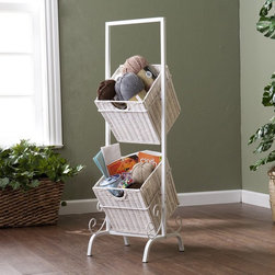 Southern Enterprise - Southern Enterprises Colleen 2-Tier Basket Storage - White - HN3039-8 - Shop for Storage and Organizers from Hayneedle.com! The Southern Enterprises Colleen 2-Tier Basket Storage White is great for crafts magazines linens and more! Why go for typical and boring cabinets and shelving when you can choose the more open and decorative option on display here? This attractive piece features 2 rattan woven baskets hung from a durable metal frame with beautiful scrollwork and an all white finish that brightens your surroundings. Each basket's open design makes identifying and retrieving items convenient and each one can hold up to 14 lbs. each making it not only resplendent but highly reliable. Add it to your craft room bathroom or kitchen today!About SEI (Southern Enterprises Inc.)This item is manufactured by Southern Enterprises or SEI. Southern Enterprises is a wholesale furniture accessory import company based in Dallas Texas. Founded in 1976 SEI offers innovative designs exceptional customer service and fast shipping from its main Dallas location. It provides quality products ranging from dinettes to home office and more. SEI is constantly evolving processes to ensure that you receive top-quality furniture with easy-to-follow instruction sheets. SEI stands behind its products and service with utmost confidence.