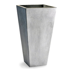 Clay Planter - 13.75 x 23.5 - Tall and intriguing with a confined footprint, the Clay Planter is reminiscent of modern architecture in its grey stone finish and confidently-planned outward angles.  This tapered planter is ideal for presenting tall, manicured plantings or loose, trailing foliage.  Its distressed exterior, weathered and austere, unites it with permanent features of its surroundings.