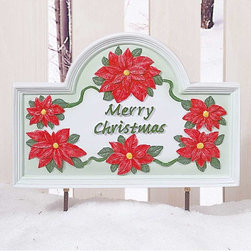"""Renovators Supply - Plaques White Metal Christmas Plaque w/Stand - You can mount our bright holiday greeting at the door, in the garden or in the yard to greet your guests. The plaque measures 6""""x 10"""" and includes a 12"""" high stand."""