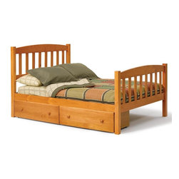 Chelsea Home - Full Mission Bed with Underbed Storage - Mattress not included. Rustic style. Hand finished stain with three step process to compliment natural wood grain. Rails connect to bed ends by metal to metal machine bolt and t-nut for secure hold. Meet and exceed all of the following rules: ASTM F-1427-07, CFR 1213, CFR1513 and lead testing. Constructed for strength and durability. Warranty: One year. Made from solid pine wood. Honey finish. Made in Brazil. Assembly required. 84 in. L x 54 in. W x 45 in. H (127.8 lbs.)