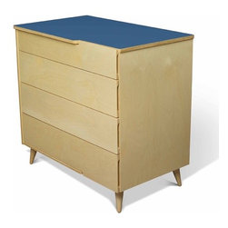True Modern - 11 Ply 4 Drawer Dresser - TrueModern's 11 Ply collection is a fresh update on old school modern design. With its turned Danish style legs and exposed plywood edges, the 11 ply dresser has plenty of storage for both kids and adults. There are cutout handles on the top and side of the top drawer and on the sides of the other drawers. The laminate tops are available in crisp white, postal blue, atomic orange and dark gray. The 11 ply dresser coordinates with the nightstand and bed  match the laminate tops or mix it up with different colors for each piece! Features: -Material: Sustainable Birch Plywood & Laminate Top. -Four drawers. -Danish style legs and exposed plywood edges. -Plenty of storage for both kids and adults. -Cutout handles on the top and side of the top drawer and on the sides of the other drawers. -Made in the USA.