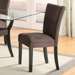 "Coaster - Bloomfield Collection Parson Chair in Chocolate, Set of 2 - This beautiful parson style dining side chair will be a lovely addition to your contemporary dining room. The high sleek curved chair back and plush padded seat is covered in a soft and durable microfiber fabric, available in five colors to complement your decor. Chocolate, gold ochre, terracotta, taupe, or light green upholstery sits above square tapered legs in a rich dark cappuccino finish.; Casual Style; Bloomfield Collection; Finish: Cappuccino; Fabric Color: Chocolate; No assembly required.; Dimensions: 23.5""L x 19""W x 38""H"