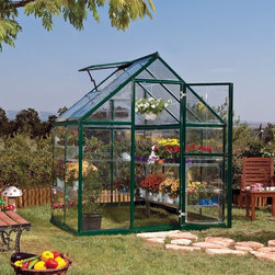 Palram - Palram Harmony Hobby Greenhouse - HG5304G - Shop for Greenhouses from Hayneedle.com! This little feller the Palram Harmony Hobby Greenhouse is perfect for the part-time gardening enthusiast. Available in two sizes and two colors this greenhouse is crafted with a galvanized steel base a solid aluminum frame and clear polycarbonate panels. The greenhouse's vent offers premium ventilation and the gutter offers excellent drainage.