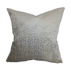 """The Pillow Collection - Leif Geometric Pillow Gray 18"""" x 18"""" - This decor pillow is designed to reinvent your room with its plush look. This square pillow comes with a lovely grey hue and adorned with a geometric pattern. Made of luxuriously soft velvet material, this 18"""" pillow is the easiest way to update any of your rooms. Pair this throw pillow with solids and other patterns for an interesting decor style. Hidden zipper closure for easy cover removal.  Knife edge finish on all four sides.  Reversible pillow with the same fabric on the back side.  Spot cleaning suggested."""