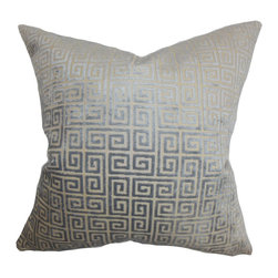 """The Pillow Collection - Leif Geometric Pillow Gray - This decor pillow is designed to reinvent your room with its plush look. This square pillow comes with a lovely grey hue and adorned with a geometric pattern. Made of luxuriously soft velvet material, this 18"""" pillow is the easiest way to update any of your rooms. Pair this throw pillow with solids and other patterns for an interesting decor style. Hidden zipper closure for easy cover removal.  Knife edge finish on all four sides.  Reversible pillow with the same fabric on the back side.  Spot cleaning suggested."""