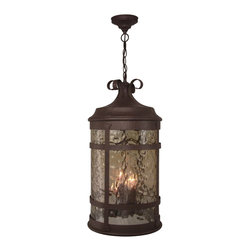 Exteriors - Exteriors Espana Traditional Outdoor Hanging Lantern Light X-19-1105Z - Revel in the beauty of this four-light Craftmade Espana traditional outdoor hanging lantern light. Much like the country for which it's named after, Spain, it's a piece with a lot of style and flair. Notice the fine details, such as the delicate scrolls and frame that wraps around the hammered champagne glass. Moreover, the rustic iron finish has a warm and inviting look and feel.