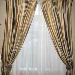 Custom Window Treatments - Layered window treatments: sheers and decorative drapery panels