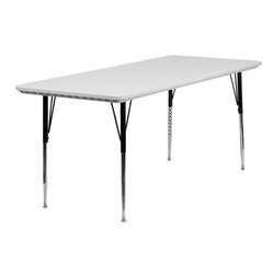 Height Adjustable Rectangular Granite White Plastic Activity Table