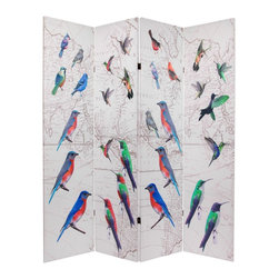 Oriental Furniture - 6 ft. Tall Double Sided Birds Room Divider - An appealing decorative accent for birdwatchers and bird lovers Four-panel floor screen, printed on both sides with colorful images of migratory song birds over a vintage line drawing of an old world map.