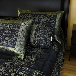 "Luxurious & Decorative Bedding Sets - Unique ""Ornamental Embroidered"" Indian design. 7-piece bedding set. Midnight Black color with Gold border."