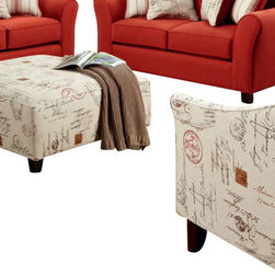 Chelsea Home Furniture - Chelsea Home Gloucester Accent Chair and Ottoman Upholstered in Postale Ruby - Gloucester Accent Chair and Ottoman Upholstered in Postale Ruby belongs to Verona VI collection by Chelsea Home Furniture.