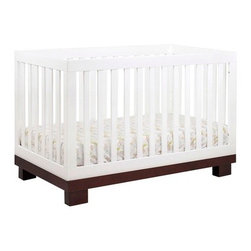"babyletto - Modo 3-in-1 Convertible Crib Set - This contemporary convertible pine crib will add sophistication to any nursery with its sleek design and modern look. The Modo 3-in-1 Convertible Crib offers a versatile design with four mattress levels for the mattress support and includes a toddler guard rail kit. These features will allow the Modo 3-in-1 Convertible Crib from babyletto to adjust to your baby's growth and last through his or her toddler years by converting from a crib into a toddler bed and later into a day bed. This babyletto crib can be enhanced with the Modo changing table, to make a modern set that will look great in any nursery. Features: -Constructed of pine. -Modern and contemporary. -3-in-1 Convertible design: can be used as a crib, toddler bed, and daybed. -Toddler guard rail included. -Mattress can be adjusted to four heights. -Linens not included. -Dresser and changing table in one. -Five drawer dresser with solid pine drawer fronts. -Removable changing table tray. -Three large drawers made of wood. -This is a NON-Drop Side crib. Dimensions: -51.25"" H x 53.5"" W x 30"" D, 59.5 lbs. Please Note: All Assembled babyletto Products are Non-Returnable This Crib is approved for use in the United States."