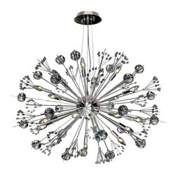 Worldwide Lighting - Starburst Chrome-Finish Crystal Sputnik Chandelier - This stunning 20-light chandelier only uses the best quality material and workmanship ensuring a beautiful heirloom quality piece. Featuring a radiant chrome finish and finely cut premium grade clear crystals with a lead content of 30%, this elegant chandelier will give any room sparkle and glamour. Worldwide Lighting Corporation is a privately owned manufacturer of high quality crystal chandeliers, pendants, surface mounts, sconces and custom decorative lighting products for the residential, hospitality and commercial building markets. Our high quality crystals meet all standards of perfection, possessing lead oxide of 30% that is above industry standards and can be seen in prestigious homes, hotels, restaurants, casinos, and churches across the country. Our mission is to enhance your lighting needs with exceptional quality fixtures at a reasonable price.