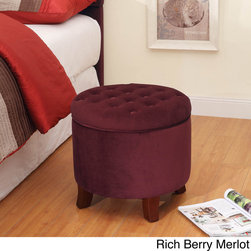 HomePop - Velvet Tufted Round Ottoman with Storage - This luxurious ottoman features decorative button tufting on the round lid,which lifts to reveal a large storage capacity. Solid wood legs blend perfectly with both the rich berry merlot and plum aubergine colors available.