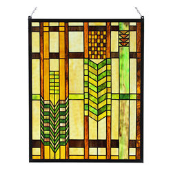"""Paul Sahlin - Arts and Crafts Mission Squares Stained Glass Panel - This Arts and Crafts Mission Squares Stained Glass Panel is made using the """"copper foil"""" technique, a method made popular by Louis Comfort Tiffany that involves wrapping the pieces of glass with copper foil and soldering them together along the length of the seams. Ht: 20"""". W: 16"""". The Mission Squares Stained Glass Panel comes with a 24"""" chain."""