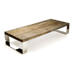 Kathy Kuo Home - Darren Contemporary Reclaimed Wood Steel Coffee Table - This Darren is handsome, earthy and contemporary.  In other words,  he's Mr. Right for just about any modern mix from industrial lofts to midcentury apartments or even the most sophisticated lodges or cabins.