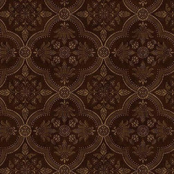 Warner - Qt19461 Medallion Diamond Damask Wallpaper - AT19461 Medallion from Quintessential is a black wallpaper with a gold clover shaped trellis damask.