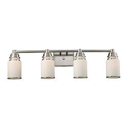 ELK Lighting - 4-Light Vanity Lamp in Satin Nickel Finish - Bulbs not included. Requires four 100 watt medium type bulbs. 32 in. W x 6 in. D x 8.5 in. H (7 lbs.)