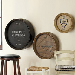 Ballard Designs - Wine Barrel Plaques - Set of 3 - Crafted of mango wood. Hand stenciled. Stained finish. We're always on the lookout for expressive wood plaques because they add character and atmosphere the moment you hang them. Our stenciled Wine Barrel Plaques create a vintage 3-dimensional texture and interest above a bar or buffet.Wine Barrel Plaque features:. . .