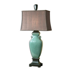 Uttermost - Uttermost Hastin Table Lamp in Crackled Turquoise - Shown in picture: Crackled Turquoise With Oil Rubbed Bronze Details. This porcelain table lamp has a crackled turquoise glaze with oil rubbed bronze details. The rectangle bell shade is a silken bronze textile with natural slubbing.