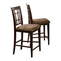 Atlantic Furniture - Atlantic Furniture Montego Bay Pub Chair in Antique Walnut (Set of 2) - Atlantic Furniture - Bar Stools - AD773234 - The Atlantic Furniture Montego Bay Pub Chairs are constructed from Eco-friendly solid hardwood and have an elegant Antique Walnut wood finish. This set of two pub chairs feature a Cappuccino colored seat cushion. The Montego Bay Pub Chairs are perfect for a casual dining room setting.