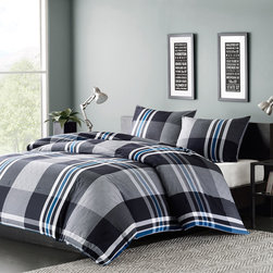 Ink+Ivy - Ink+Ivy Nathan Comforter Mini Set - Add just a touch of color to your bedroom with the Ink+Ivy Nathan Comforter Set. The bold print uses black, white and a pop of blue thread that are woven together to create a dark grey and light grey plaid pattern that is mimicked again on the sham. This unique design will give your space a modern feel instantly. Comforter/Sham: 100% cotton yarn dyed, 100% cotton percale solid revese, 300 gram/sqm poly filling