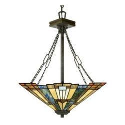 Quoizel Inglenook TFIK2817VA Small Tiffany Light - The beautiful Inglenook 3-Light Tiffany Pendant offers a classic geometric Arts and Crafts style shade design. Its handcrafted glass features colors sapphire blue warm honey amber and cream.