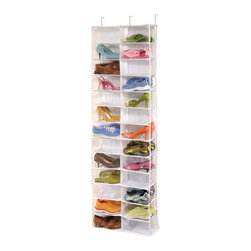 Richards Homewares - Richards Homewares Clear Vinyl 26-pocket Over the Door Shoe Organizer - See your entire collection of shoes at a glance with this handy over-the-door shoe organizer rack. It is made from heavy-duty vinyl and holds up to 26 pairs of shoes in clear pockets that also serve to protect your shoes from dust and moisture.