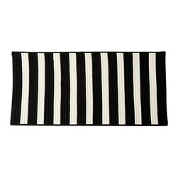 Colonial MIlls - Stripe It Up Rug - Wipe your feet with this striped black and white indoor or outdoor rug.