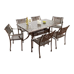 Great Deal Furniture - Sierra 7-Piece Outdoor Cast Aluminum Dining Set - Nothing symbolizes beauty and peacefulness more than a rose, and our Sierra Cast Aluminum Outdoor Dining Set in antique copper finish matches that legacy with rose adorned chair backs, creating a warm, serene atmosphere. The basket weave pattern shared by the chairs and table add extra opulence and richness, while not being overbearing. The pattern also provides strong support for seated persons and dishes and beverages on the table.
