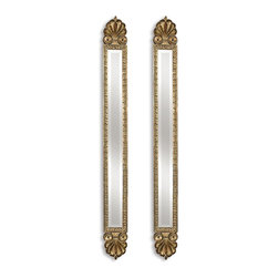 Uttermost - Juniper Antiqued Gold Leaf  Mirrors (Set Of 2) - These decorative accent mirrors feature a antique gold leaf finish with black edging and heavy sage wash.  Mirrors are beveled.