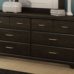 South Shore - Versa 6 Drawer Double Dresser - The Versa collection offers you a traditional but classic look that will go with a number of decors. You won?t have to look any further to complete your bedroom look. Features: -Constructed of engineered Wood. -Six drawers. -Metal pulls are enhanced by an antique pewter color finish and brass color highlights. -5 year manufacturer's limited warranty. -Dimensions: 31? H x 59? W x 17? D. Protecting our Environment for Generations to Come! South Shore Furniture is proudly taking a stand on its environmental positioning and is supporting its words with very concrete actions and a vision for a healthy future. Current actions include: -Improved packaging ? Our new packaging use 60% less non-biodegradable materials. -Energy efficiency ? Yearly, 5 to 6 tons of wasted paneling are converted into energy used internally. -Environmentally Preferable Product (EPP) certification ?Already meeting the very strict 2009 California Formaldehyde Regulations. -Greener communication tools ? Reduced format on recycled paper and conversion to electronic format. -A Green Future in mind: a member of the Composite Panel Association whose mission is to work towards more ecological and environment-friendly panel solutions.