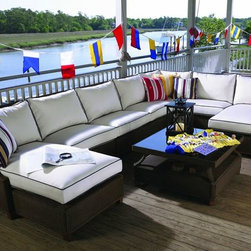 7-pc Hamptons Outdoor Wicker Sectional w/ Left Facing Chaise, Lloyd Flanders -