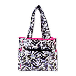 """Trend Lab - Diaper Bag - Zahara Tulip Tote - Hit the road equipped and in style with this Zahara Tote Bag by Trend Lab. Laminated bag features a black and white zebra print throughout the outside body with a black, white and paradise pink confetti dot print inside and paradise pink trim. Outside of the bag has two side bottle pockets, a front zippered pocket and a wide Velcro closure pocket on the back. Inside, four pockets and large mesh divider keep all your travel necessities organized. Snap closure keeps inside contents secure. Removable, coordinating changing pad included. Bag measures 14"""" x 12"""" x 6"""" with 22"""" straps."""