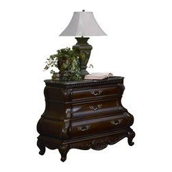 Yuan Tai - Calidonian Nightstand in Cherry Finish - Three dovetailed drawers. Marble top. Intricate resin carvings. Warranty: Six months limited. Made from solid hardwood and veneers. No assembly required. 37 in. W x 21 in. D x 32 in. H (137 lbs.)