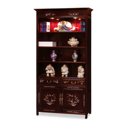 China Furniture and Arts - Rosewood Mother of Pearl Bird & Flower Design Bookcase - This Ming design bookcase is handcrafted of the indigenous solid rosewood. It has three shelves to display your favorite books or to show your treasured collectibles. The bottom cabinet and drawers with flower and bird motif mother of pearl design provides a convenient access for extra storage. Hand applied dark cherry finish allows the beauty of rosewood to shine through that will bring cheerfulness to your home. (Displayed accessories not included.)