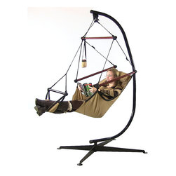 Sunnydaze Decor - Sunnydaze Hanging Hammock Chair W/ Pillow, Drink Holder & Stand Combo, Tan - Features of the Hanging Hammock Chair: