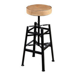 """Industrial Frame Barstool - This barstool ups the edge factor of a room in a huge way. Metal strips interlace to form a cagelike frame in which the distressed elm seat can be adjusted up and down. Pair them for an industrial-inspired breakfast bar, or use one as a mini table on hand for """"emergency"""" seating."""