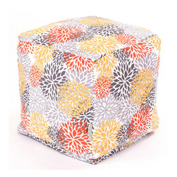 Majestic Home - Outdoor Citrus Blooms Small Cube - Add style and color to your living room or outdoor seating arrangement with Majestic Home Goods Small Cube Ottoman. This cube is perfect for use as a footstool, side table or as extra seating for guests. Woven from outdoor treated polyester, these cubes have up to 1000 hours of U.V. protection and are able to withstand all of natures elements. The beanbag inserts are eco-friendly by using up to 50% recycled polystyrene beads, and the removable zippered slipcovers are conveniently machine-washable.